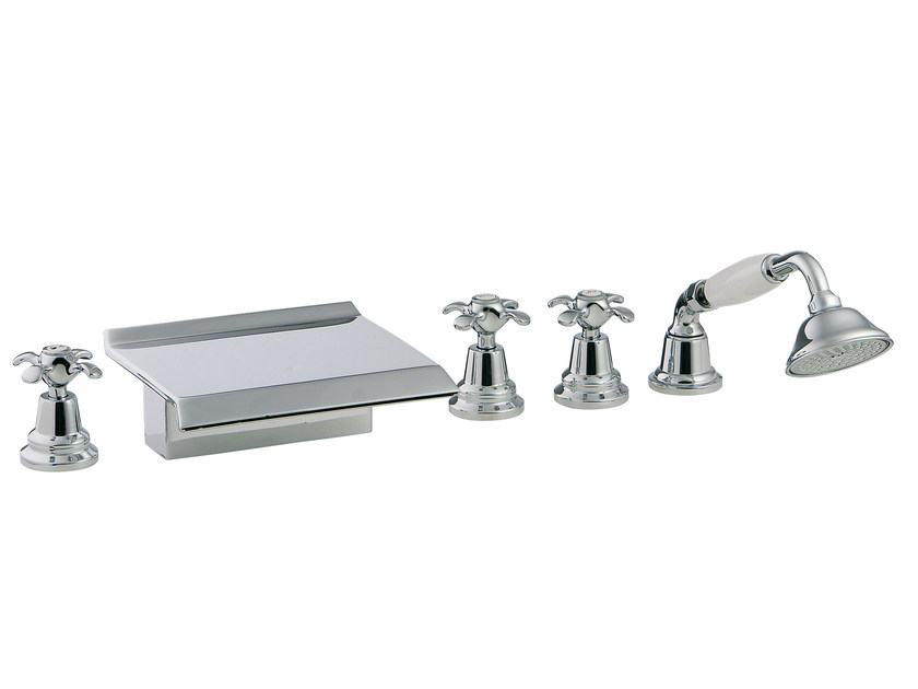 5 hole bathtub set with hand shower NUOVA RETRÒ | Bathtub set - Rubinetterie 3M