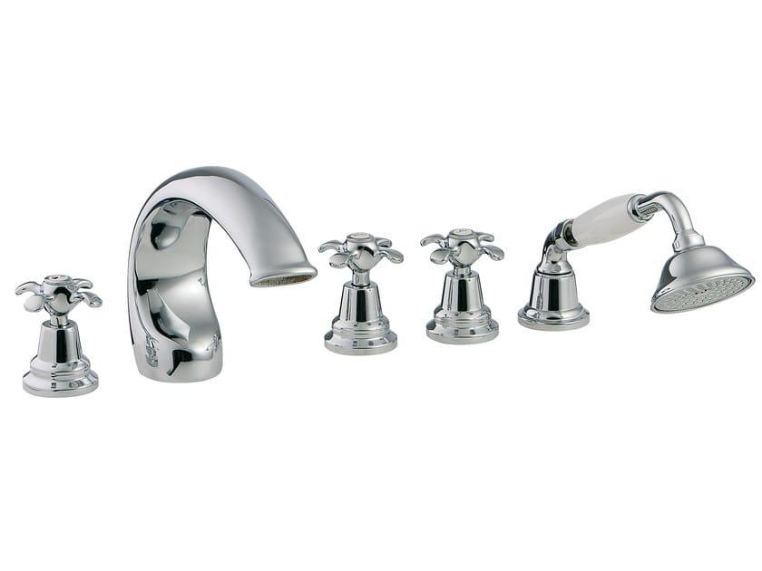 5 hole bathtub set with hand shower NUOVA RETRÒ | 5 hole bathtub set - Rubinetterie 3M