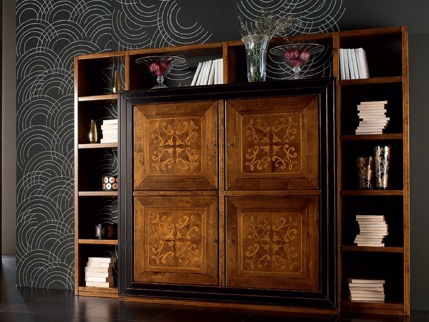 Wall-mounted wooden bookcase CA' VENIER | Bookcase by Cantiero