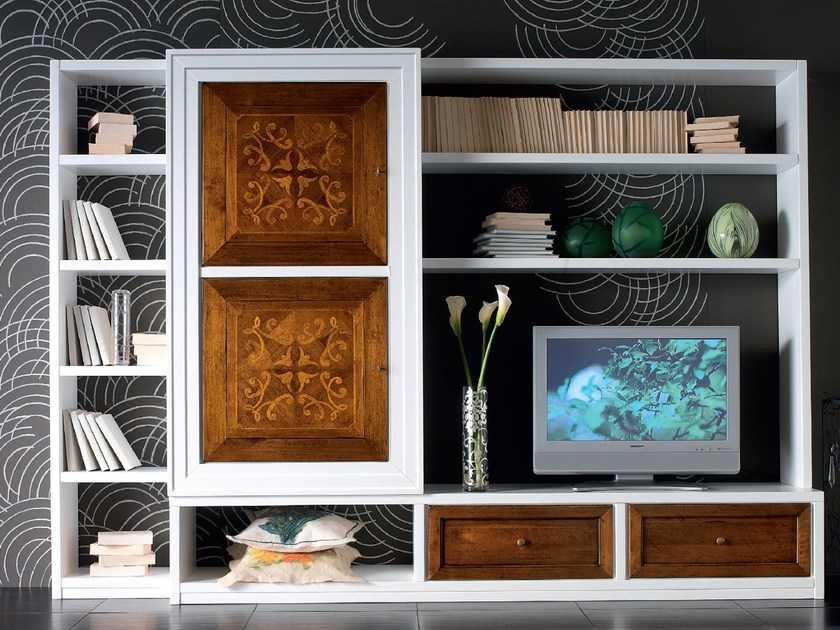 Sectional wooden storage wall CA' VENIER | Solid wood storage wall - Cantiero
