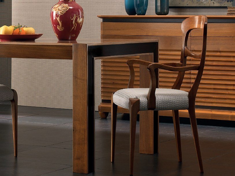 Upholstered wooden chair with armrests ELETTRA DAY | Chair with armrests - Cantiero