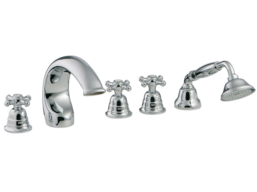 5 hole bathtub set with hand shower OLD ITALY | 5 hole bathtub set - Rubinetterie 3M