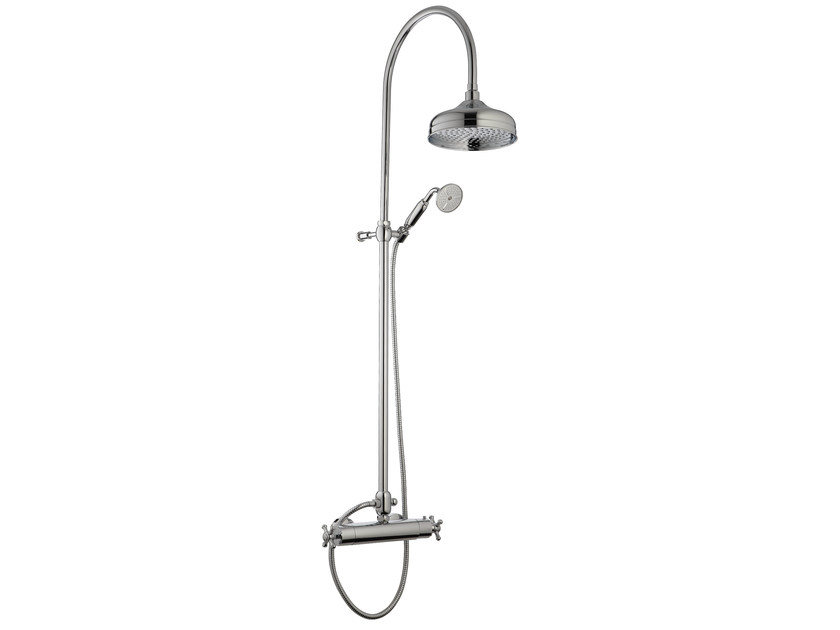 2 hole thermostatic shower mixer with overhead shower OLD ITALY | Thermostatic shower mixer with overhead shower - Rubinetterie 3M