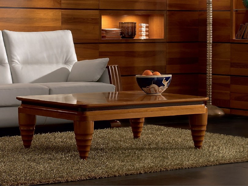 Low rectangular solid wood coffee table ELETTRA DAY | Walnut coffee table by Cantiero