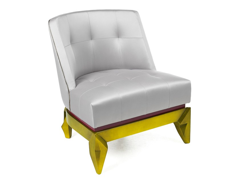 Upholstered gold leaf armchair CAPRICE LIMITED EDITION - Munna