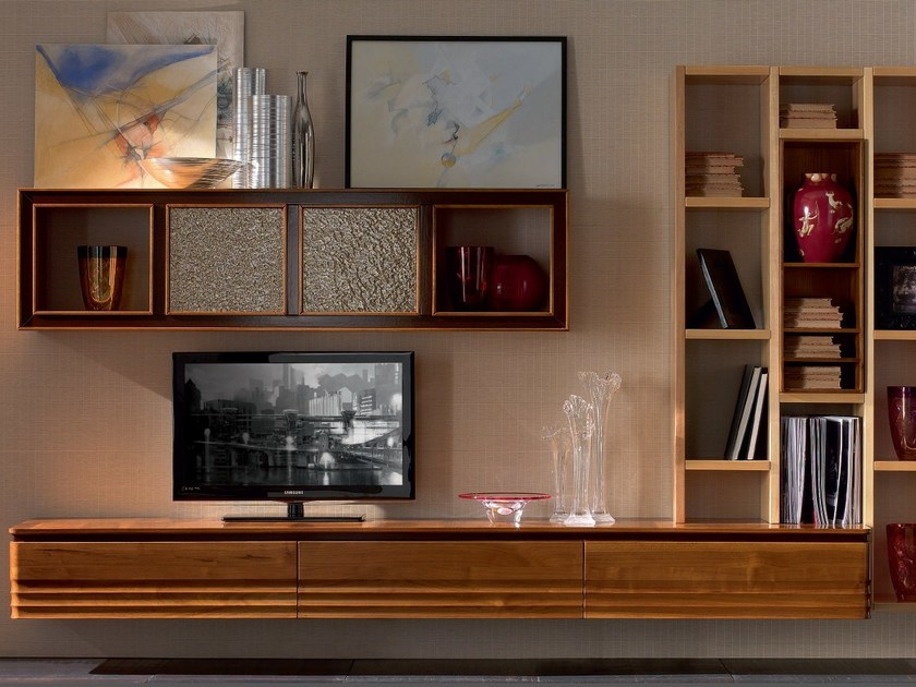 Sectional solid wood storage wall ELETTRA DAY | Storage wall - Cantiero