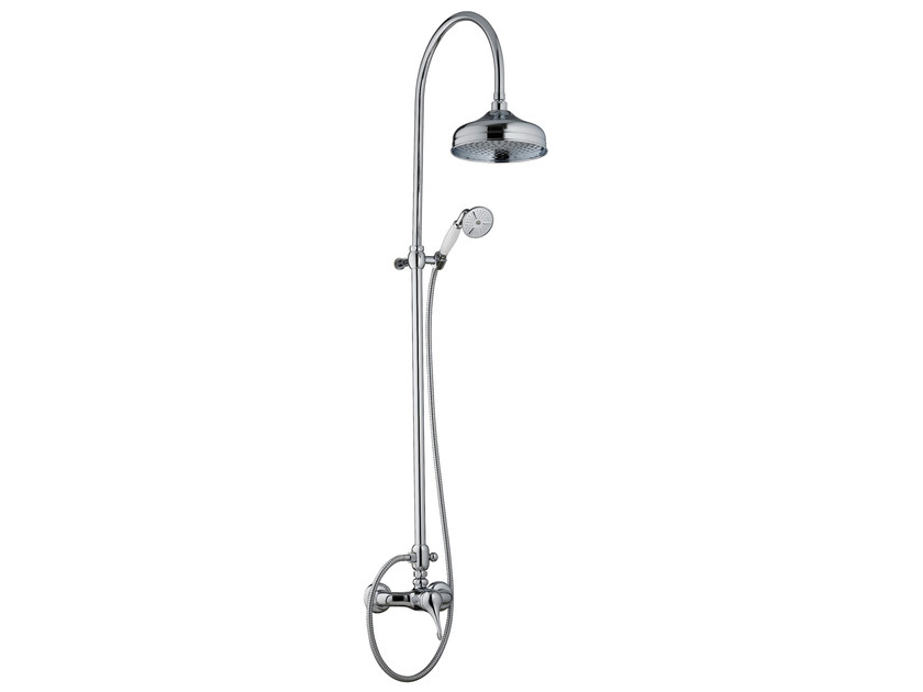 Wall-mounted shower column with hand shower with overhead shower PICCADILLY | Shower panel with hand shower - Rubinetterie 3M