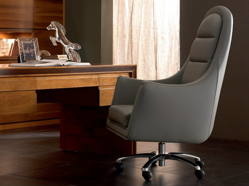Swivel leather armchair with 4-spoke base ELETTRA DAY | Armchair - Cantiero