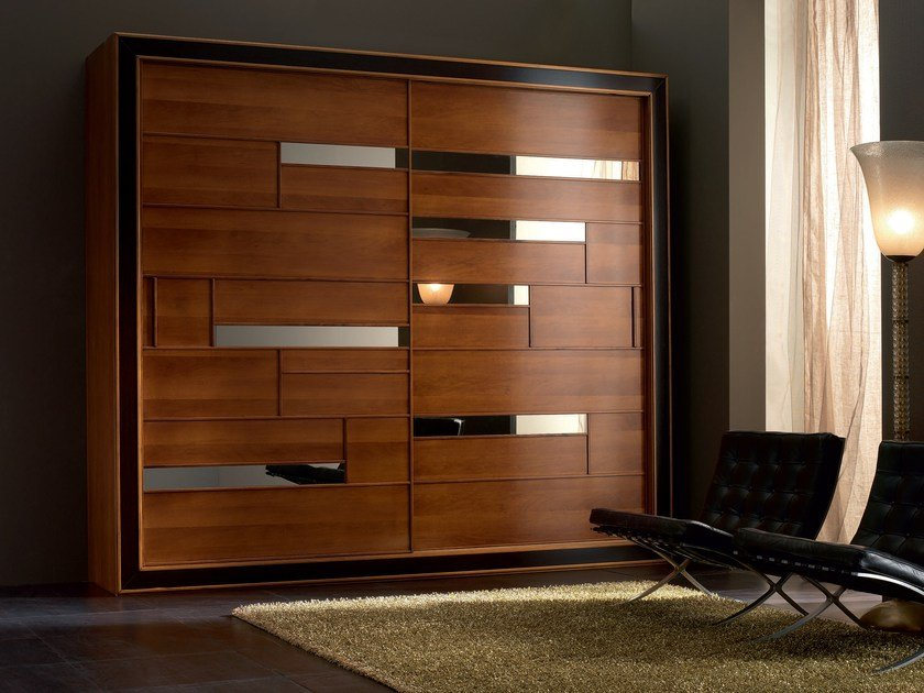 Solid wood wardrobe with sliding doors ELETTRA NIGHT | Solid wood wardrobe - Cantiero