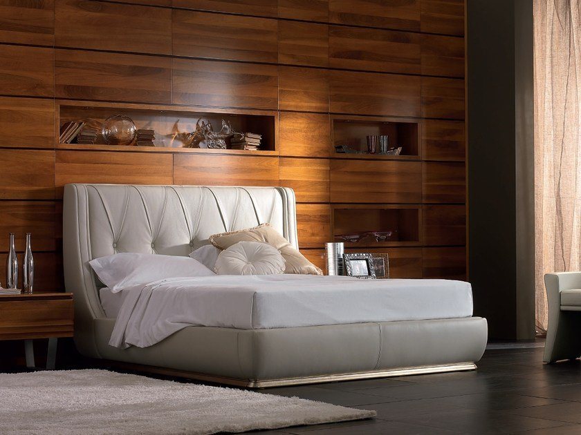 Upholstered leather storage bed with upholstered headboard ELETTRA NIGHT | Storage bed - Cantiero