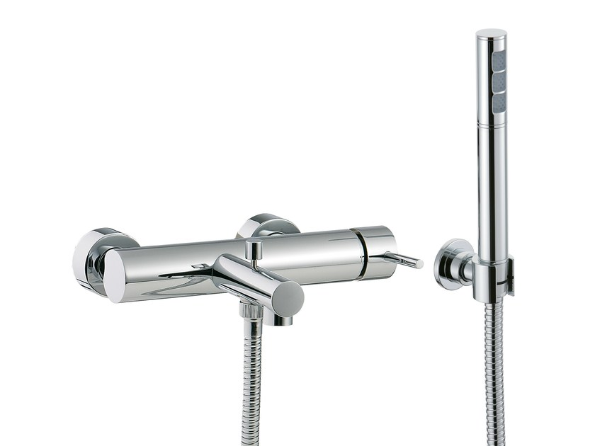 2 hole bathtub mixer with hand shower VELA | Wall-mounted bathtub mixer - Rubinetterie 3M