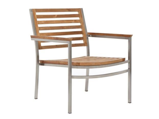 Stackable teak garden armchair with armrests MILLENIUM | Garden armchair - Il Giardino di Legno