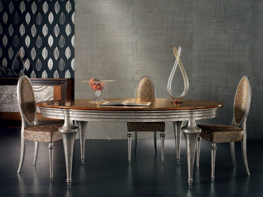 Extending oval silver leaf table ÉTOILE DAY   Extending table by Cantiero