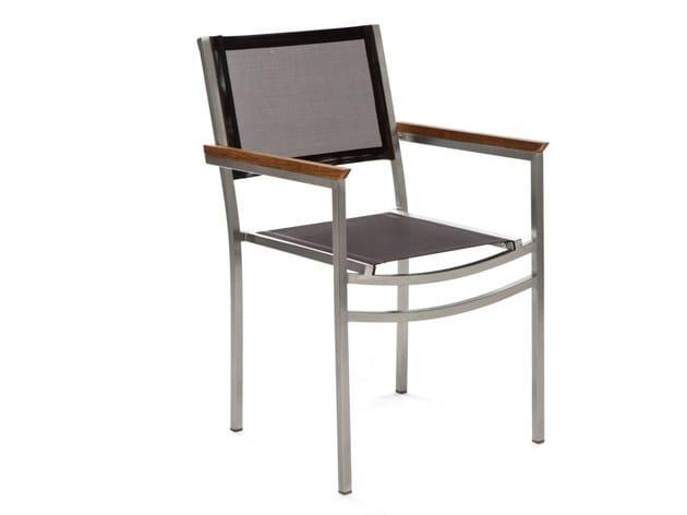 Stackable garden chair with armrests CENTENARY | Polyester fibre garden chair - Il Giardino di Legno