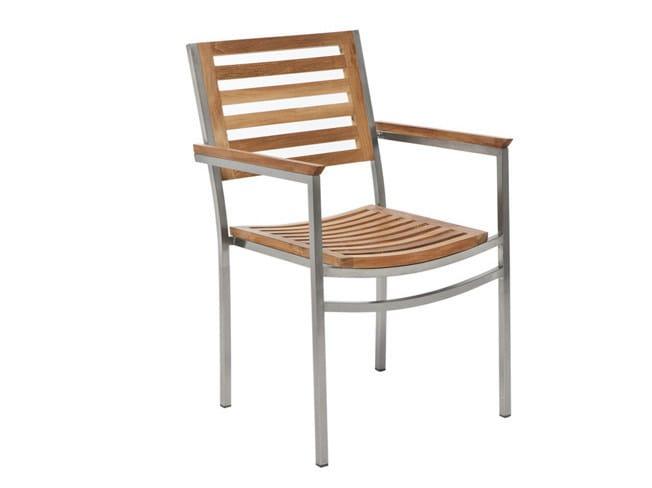 Stackable garden chair with armrests CENTENARY | Teak garden chair - Il Giardino di Legno
