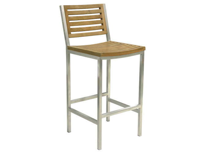 High steel garden stool HALTO | Teak garden stool - Il Giardino di Legno