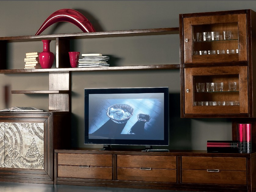 Sectional silver leaf storage wall ÉTOILE DAY | Solid wood storage wall - Cantiero