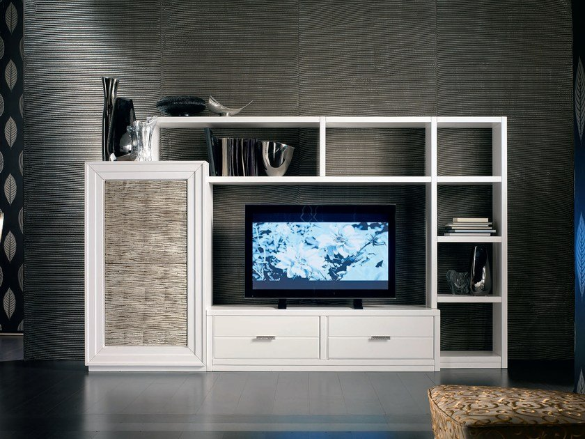 Sectional silver leaf storage wall ÉTOILE DAY | Sectional storage wall by Cantiero