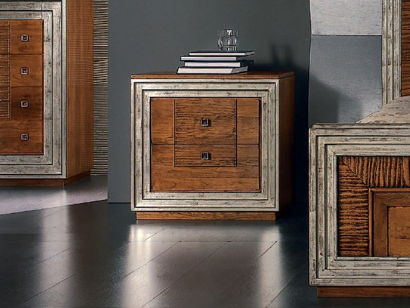 Silver leaf bedside table with drawers ÉTOILE NIGHT | Bedside table - Cantiero