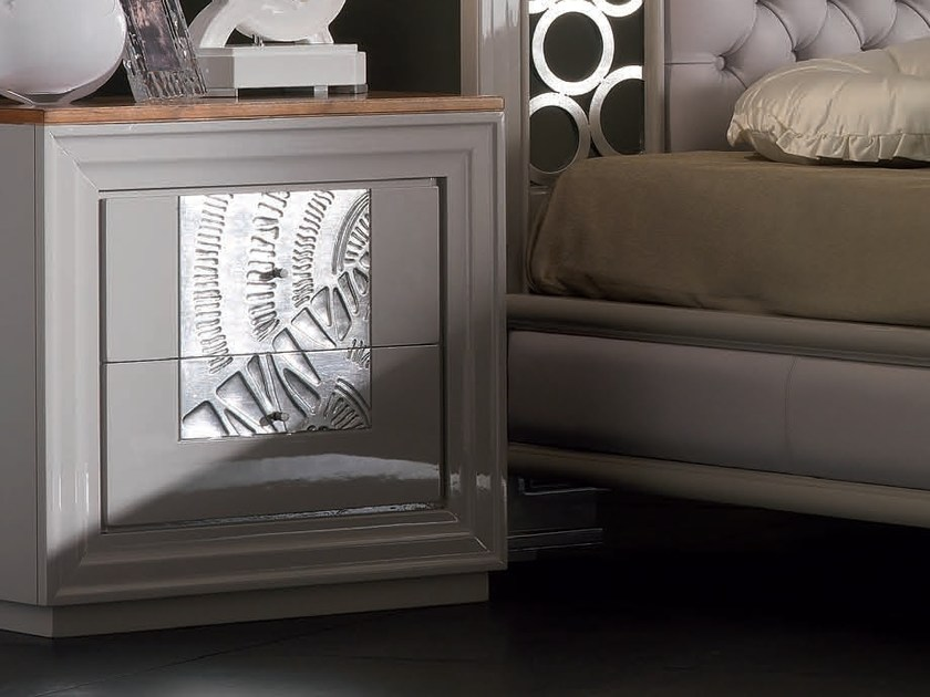 Silver leaf bedside table with drawers ÉTOILE NIGHT | Silver leaf bedside table - Cantiero