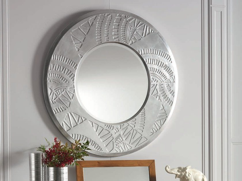 Wall-mounted framed round silver leaf mirror ÉTOILE NIGHT | Round mirror - Cantiero