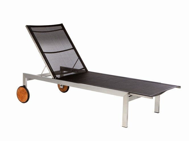 Recliner garden daybed with Casters ADAMAS | Batyline® garden daybed - Il Giardino di Legno