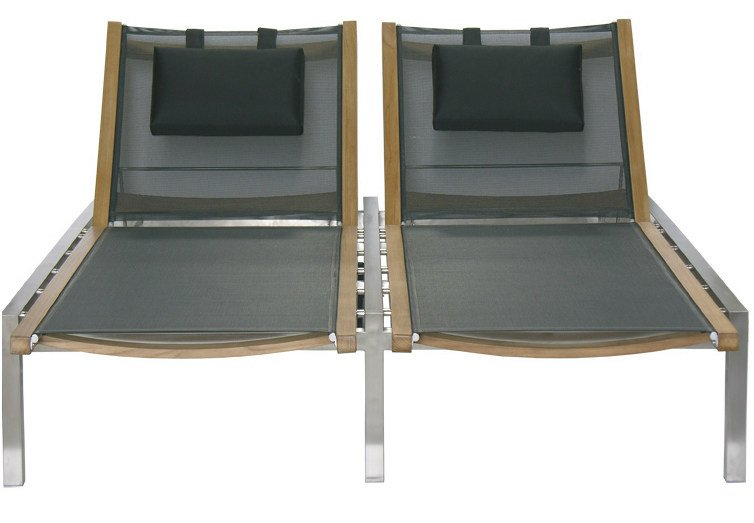 Double Recliner garden daybed with Casters ADAMAS | Double garden daybed - Il Giardino di Legno
