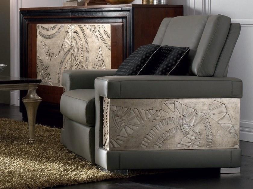 Upholstered silver leaf armchair with armrests ÉTOILE DAY | Leather armchair - Cantiero