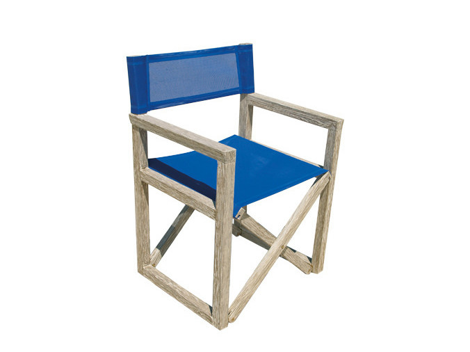 Folding garden chair with armrests WHITE SAND | Garden chair - Il Giardino di Legno