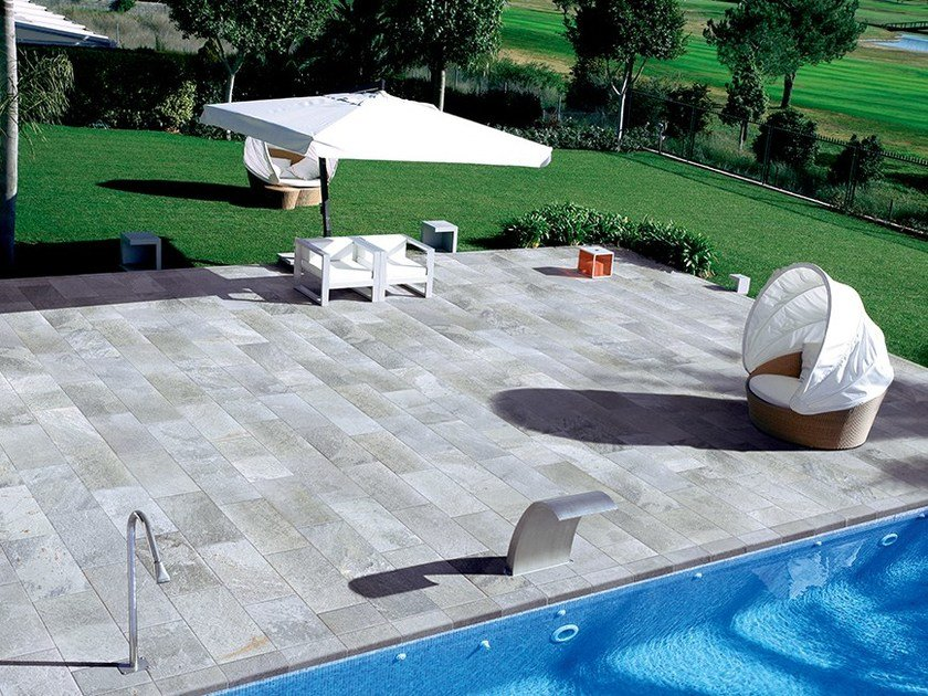 Porcelain stoneware outdoor floor tiles with stone effect QUARTZ | Outdoor floor tiles - Ceramiche Coem