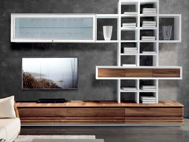 Sectional lacquered wooden storage wall D-103 | Storage wall - Dale Italia