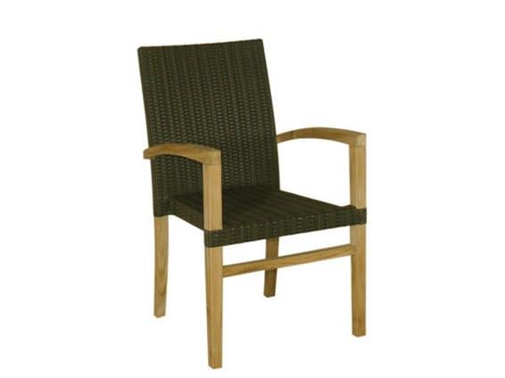 Synthetic fibre garden chair with armrests SENTOSA | Garden chair - Il Giardino di Legno