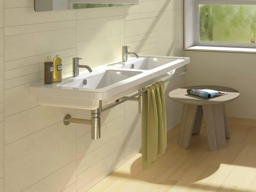 Double wall-mounted ceramic washbasin NEW LIGHT 125 | Double washbasin - CERAMICA CATALANO
