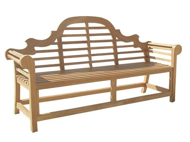 Wooden garden bench with armrests VITTORIA | Garden bench - Il Giardino di Legno
