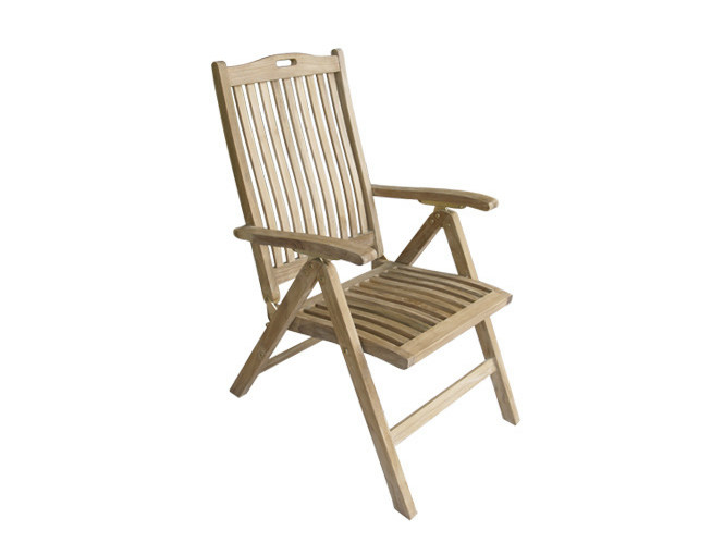 Recliner wooden garden chair with armrests MOON | Recliner garden chair by Il Giardino di Legno