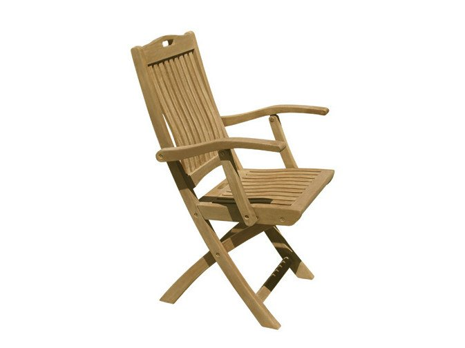 Folding wooden garden chair with armrests MOON | Garden chair with armrests - Il Giardino di Legno