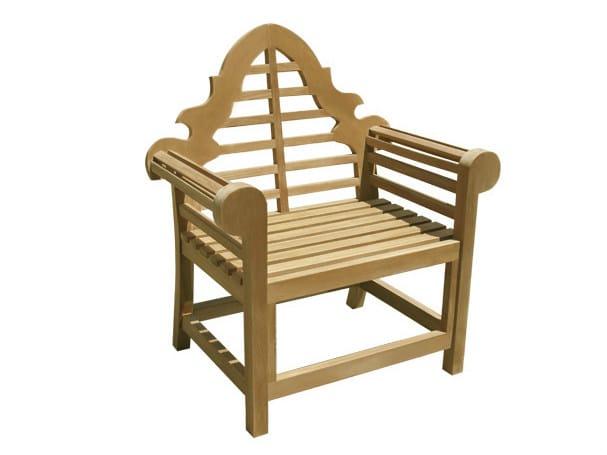 Wooden garden armchair with armrests VITTORIA | Garden armchair - Il Giardino di Legno