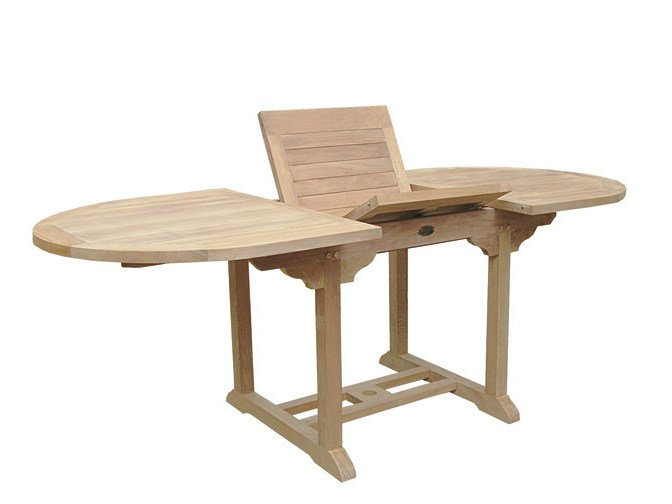 Extending Oval wooden garden table ULISSE by Il Giardino di Legno