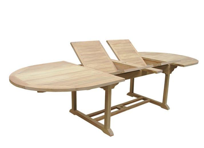 Extending Oval wooden garden table GOLIA - Il Giardino di Legno