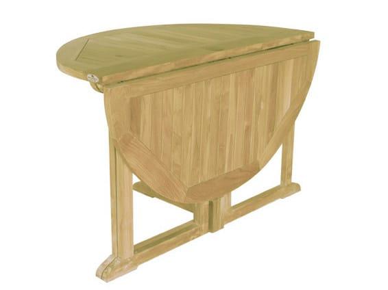 Folding Round wooden garden table TELEMACO | Round garden table - Il Giardino di Legno