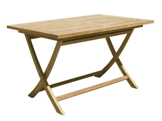 Folding Rectangular wooden garden table SINGARAJA | Rectangular garden table - Il Giardino di Legno