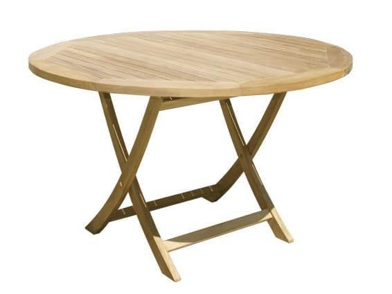 Folding Round wooden garden table ACHILLE - Il Giardino di Legno