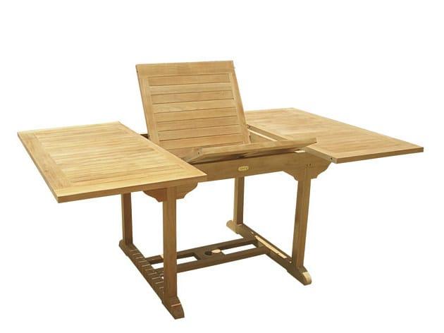 Extending Rectangular wooden garden table PERICLE - Il Giardino di Legno