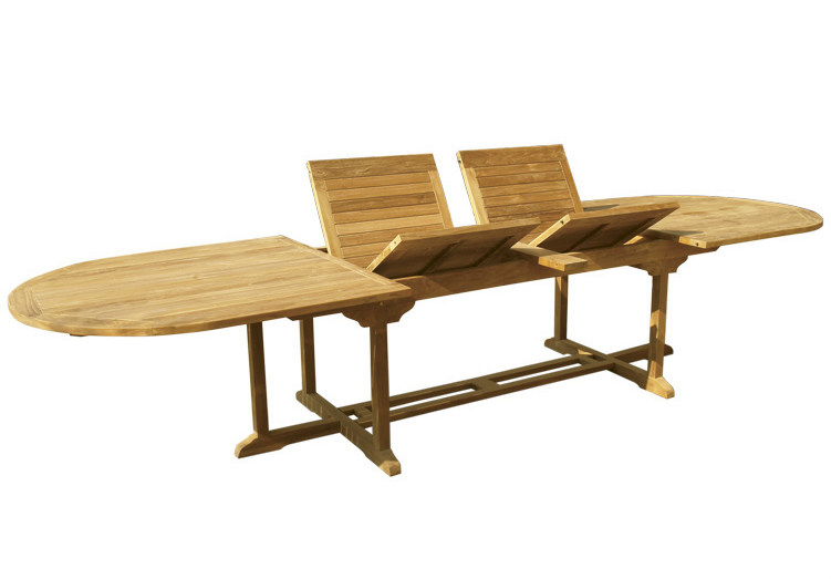 Extending Oval wooden garden table OLIMPO | Oval garden table - Il Giardino di Legno