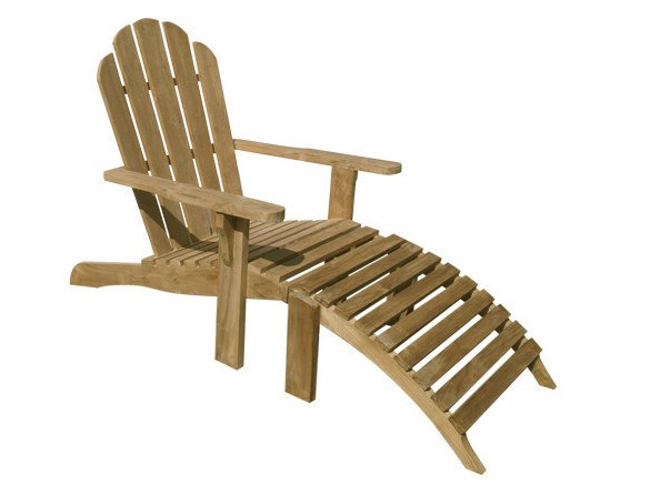 Teak deck chair with footrest RIVIERA - Il Giardino di Legno