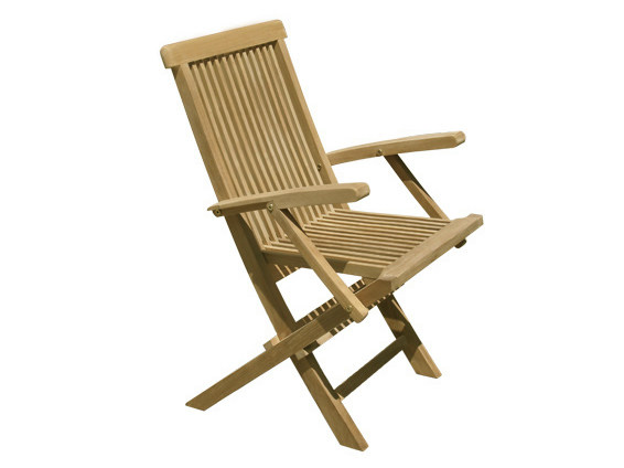 Folding wooden garden chair with armrests BRISTOL | Garden chair with armrests - Il Giardino di Legno