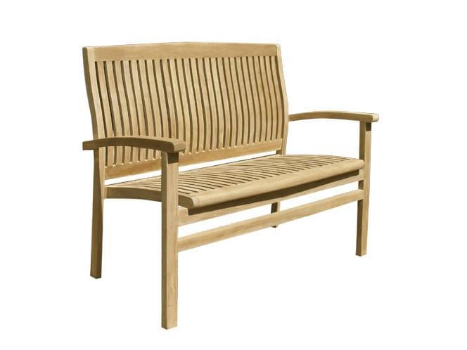 Wooden garden bench with armrests ONDA | Garden bench - Il Giardino di Legno