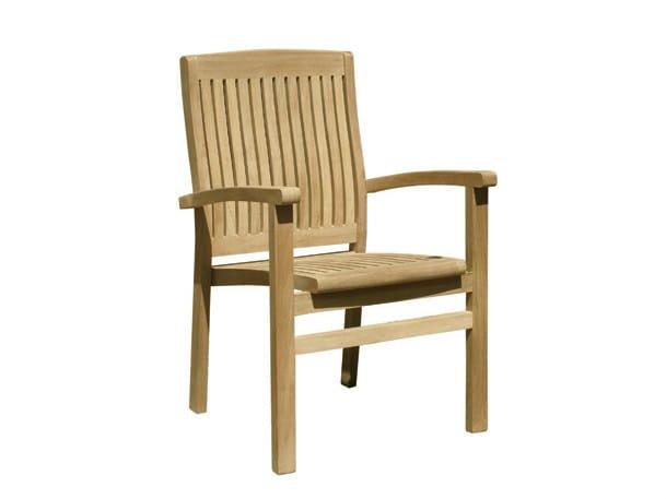 Stackable teak garden armchair with armrests ONDA | Stackable easy chair - Il Giardino di Legno