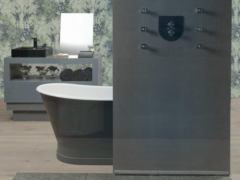 Ultra thin Techlam® wall tiles with textile effect ZAHIR NOIR - Levantina