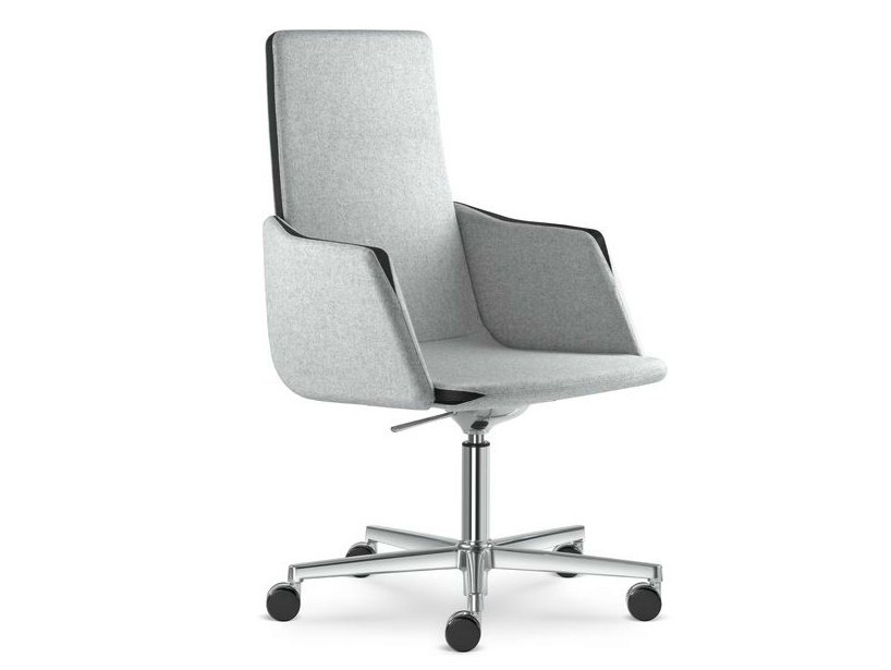 Height-adjustable swivel executive chair with armrests HARMONY | Executive chair with casters - LD Seating